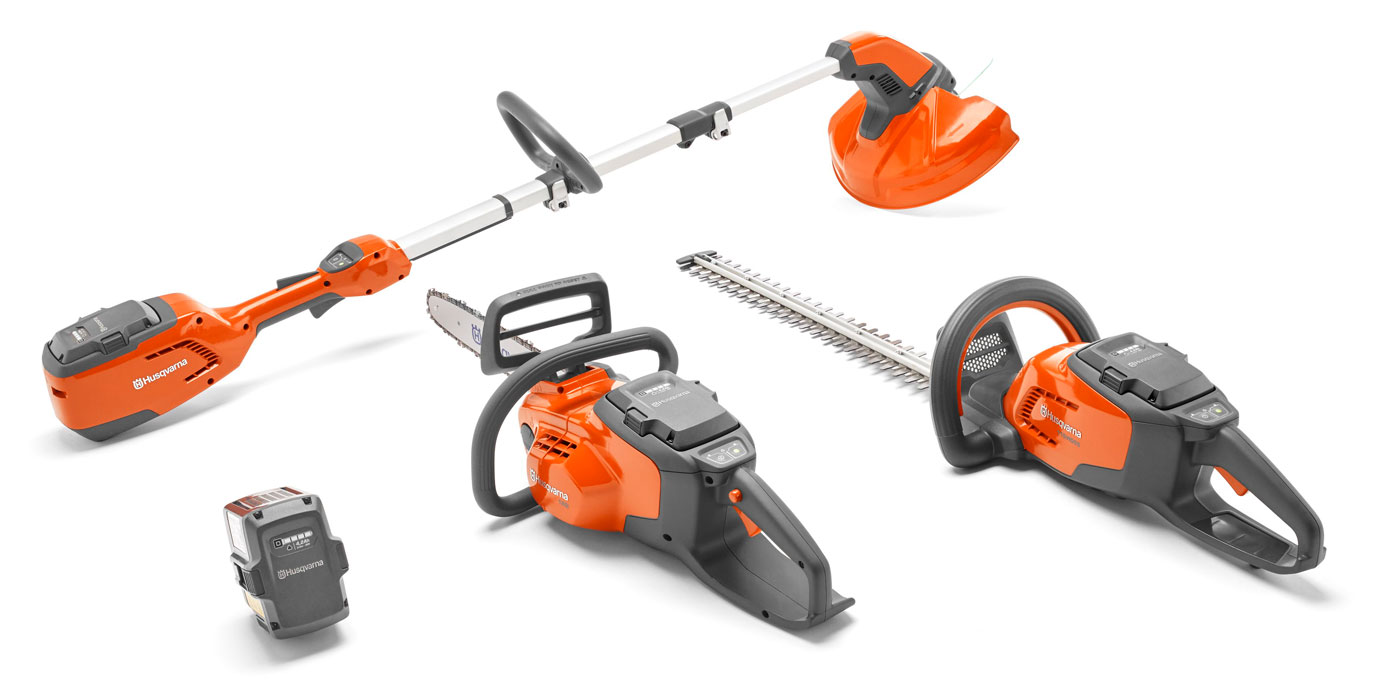 Husqvarna 100 series domestic use battery powered strimmer chainsaw and hedgetrimmer