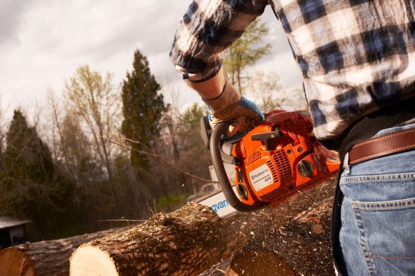 Husqvarna 435 II chainsaw cutting wood