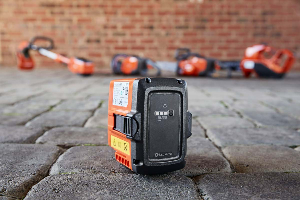 One battery powers a range of Husqvarna battery-operated garden machinery Galway