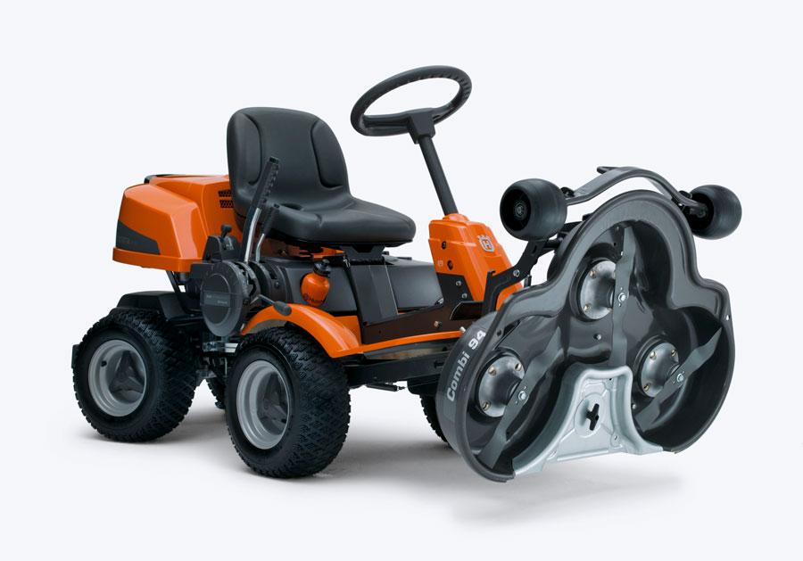 EASY TO USE Husqvarna R214TC Rider service position